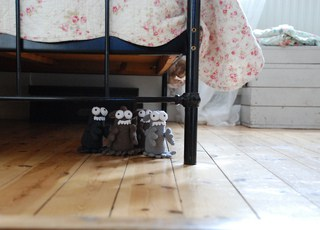 Crochet monsters under the bed