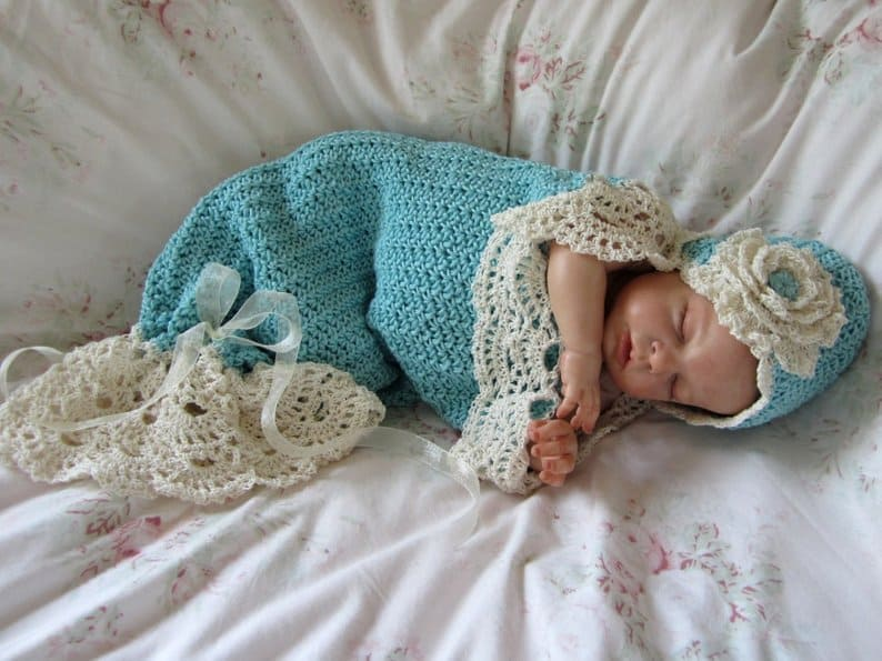 Crochet Baby Cocoon and Hat