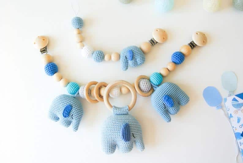 Crochet Elephant teether Necklace