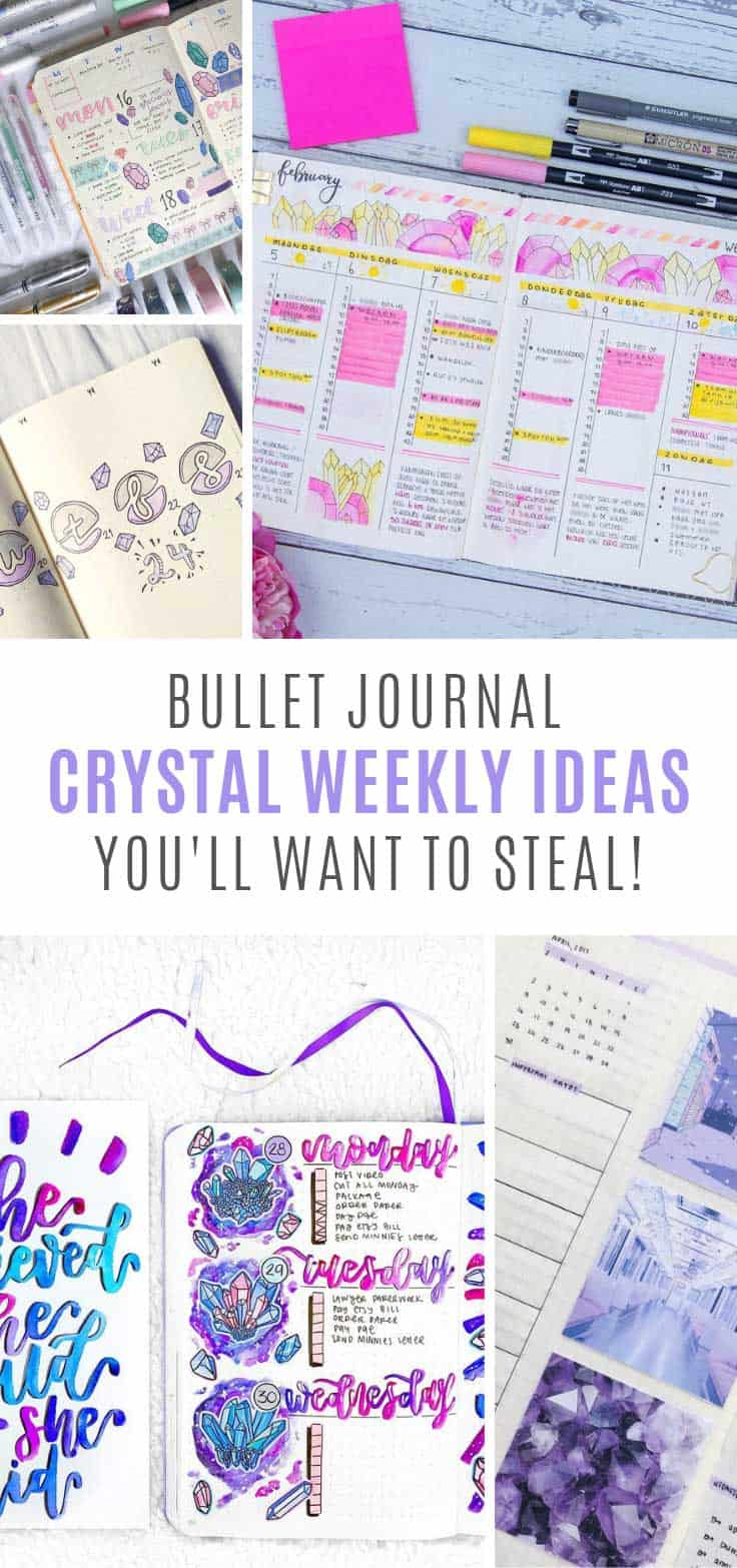 Ooh how pretty are these crystal bujo weekly spread ideas!