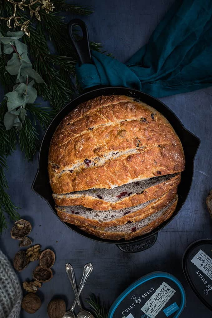 No-knead cranberry walnut skillet bread