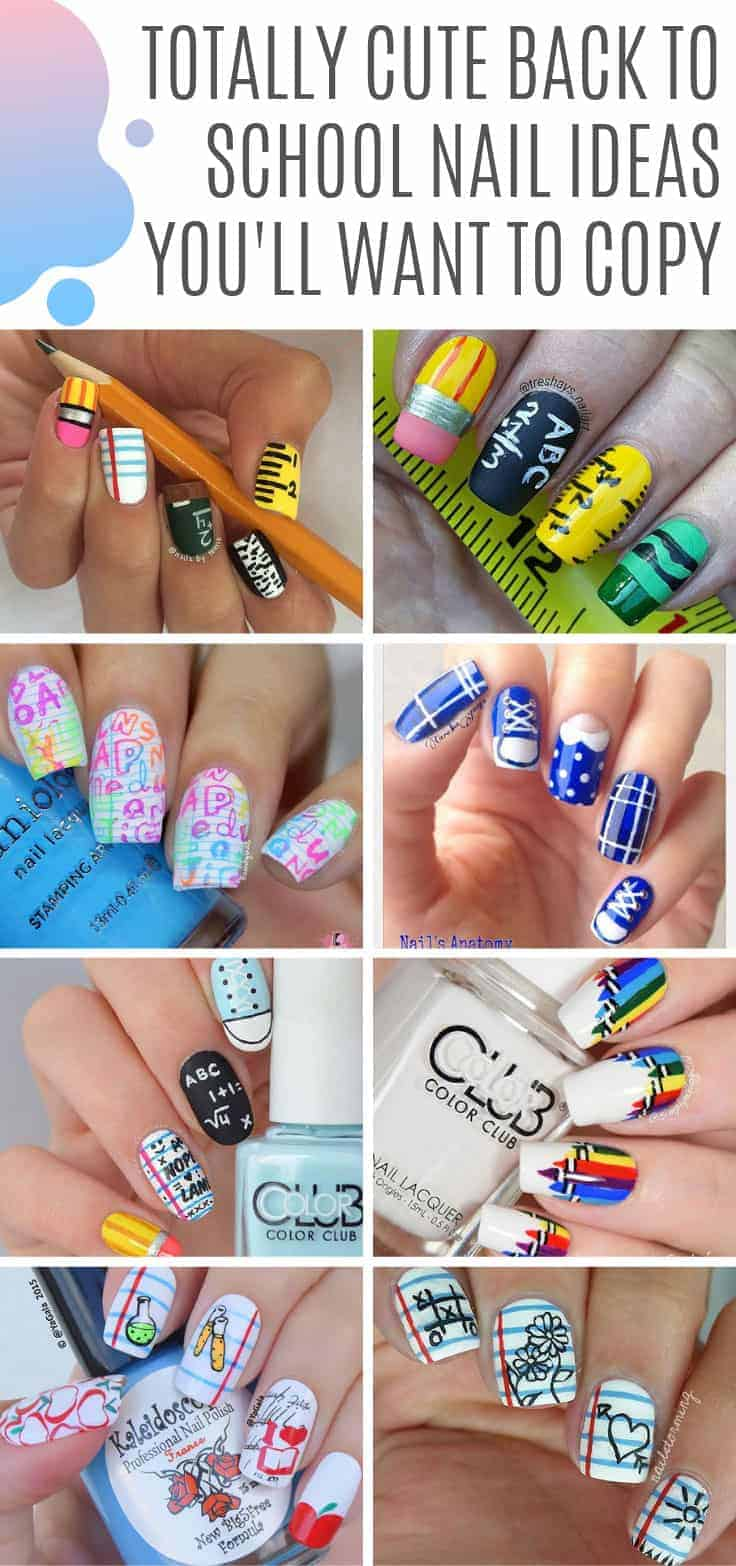 So many cute back to school nail art ideas here! All the inspiration you need to go back to class in style! #nailart