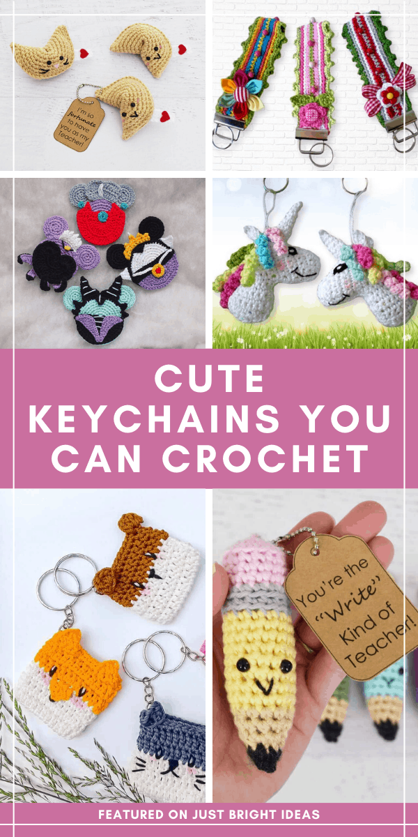 So many cute crochet keychain patterns here! They're quick and easy to make and are wonderful handmade gift ideas for birthdays, stocking stuffers and teacher appreciation!