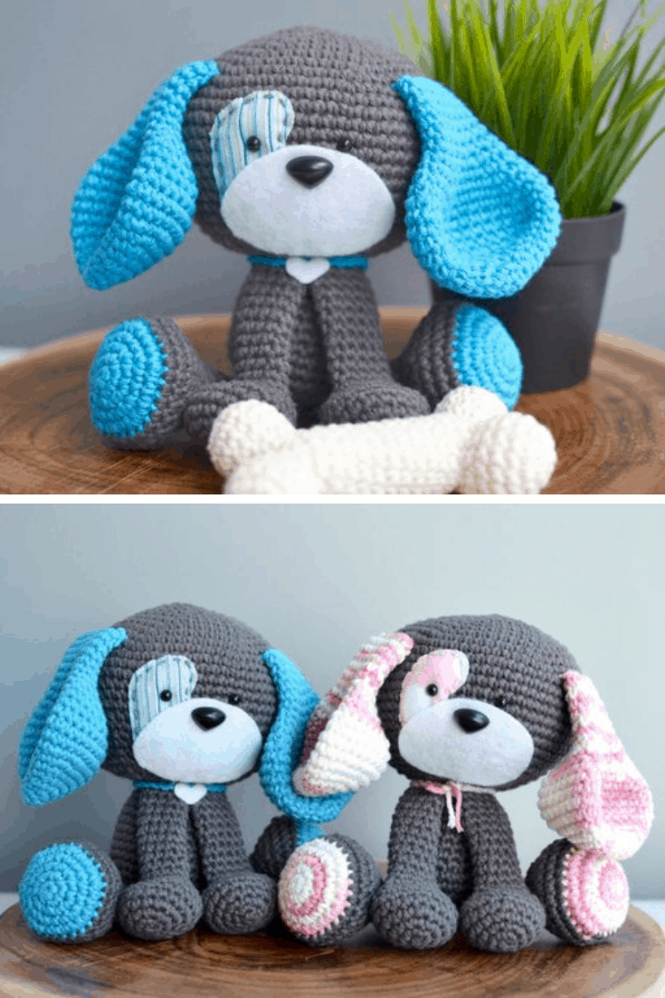 Domino the Cute Dog Amigurumi Toy