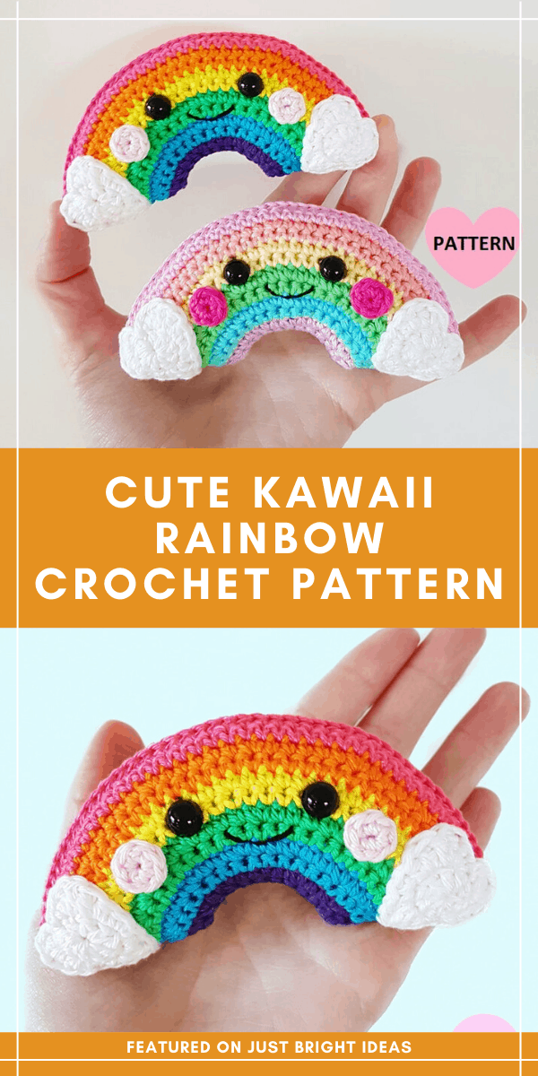 This sweet little rainbow kawaii crochet pattern fits in the palm of your hand and makes a fabulous handmade gift or party favour