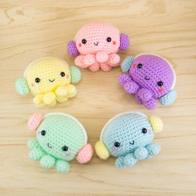 Cute Octopus with Headphones Amigurumi