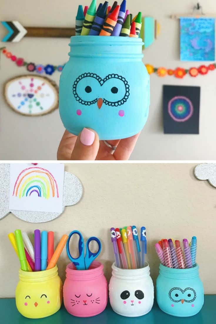 Loving these animal painted mason jar pen pots!