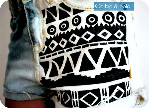 DIY Aztec Print Shorts on Bleached Denim