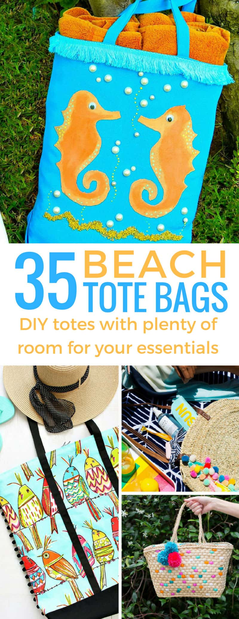 These DIY beach tote bags are gorgeous - I'm going to be the envy of the beach this summer!