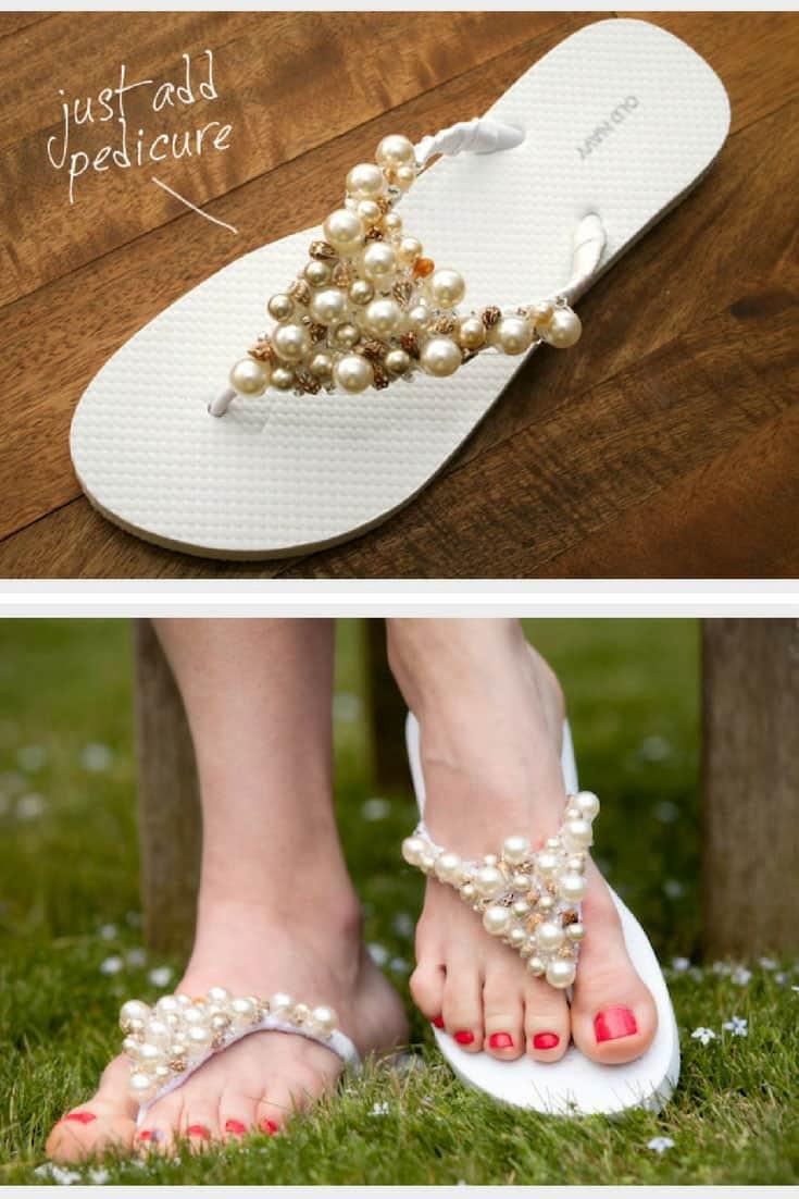 DIY Beaded Flip Flops