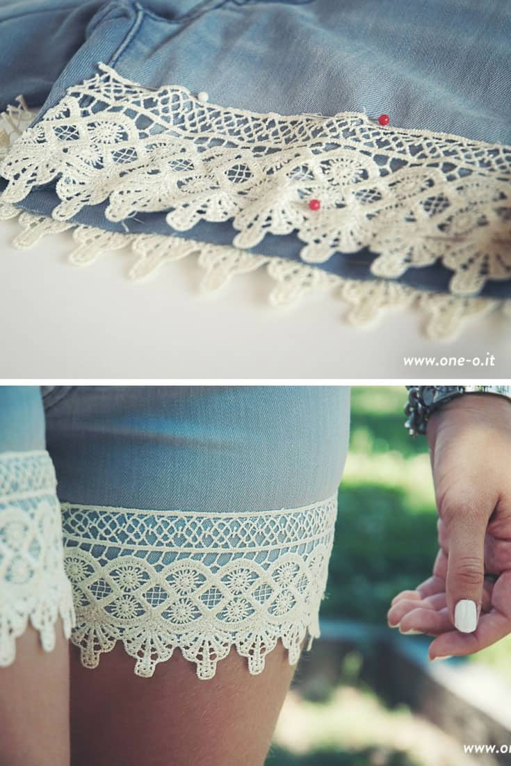 DIY Boho Lace Shorts from Old Jeans