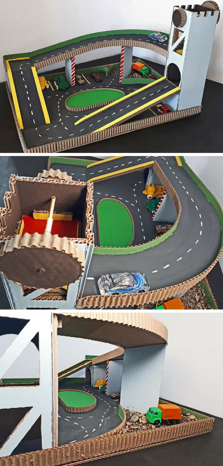 Diy toy car parking garage diy do it your self for Diy 3 car garage