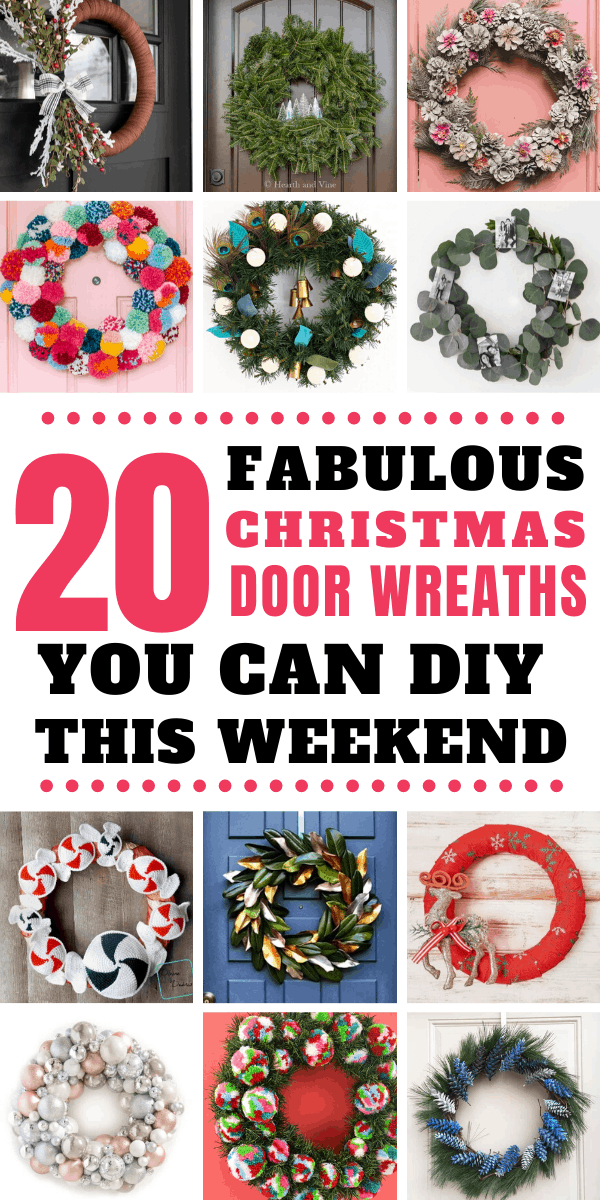 So many wonderful Christmas wreaths you can make this weekend to hang on your front door for the Holidays!