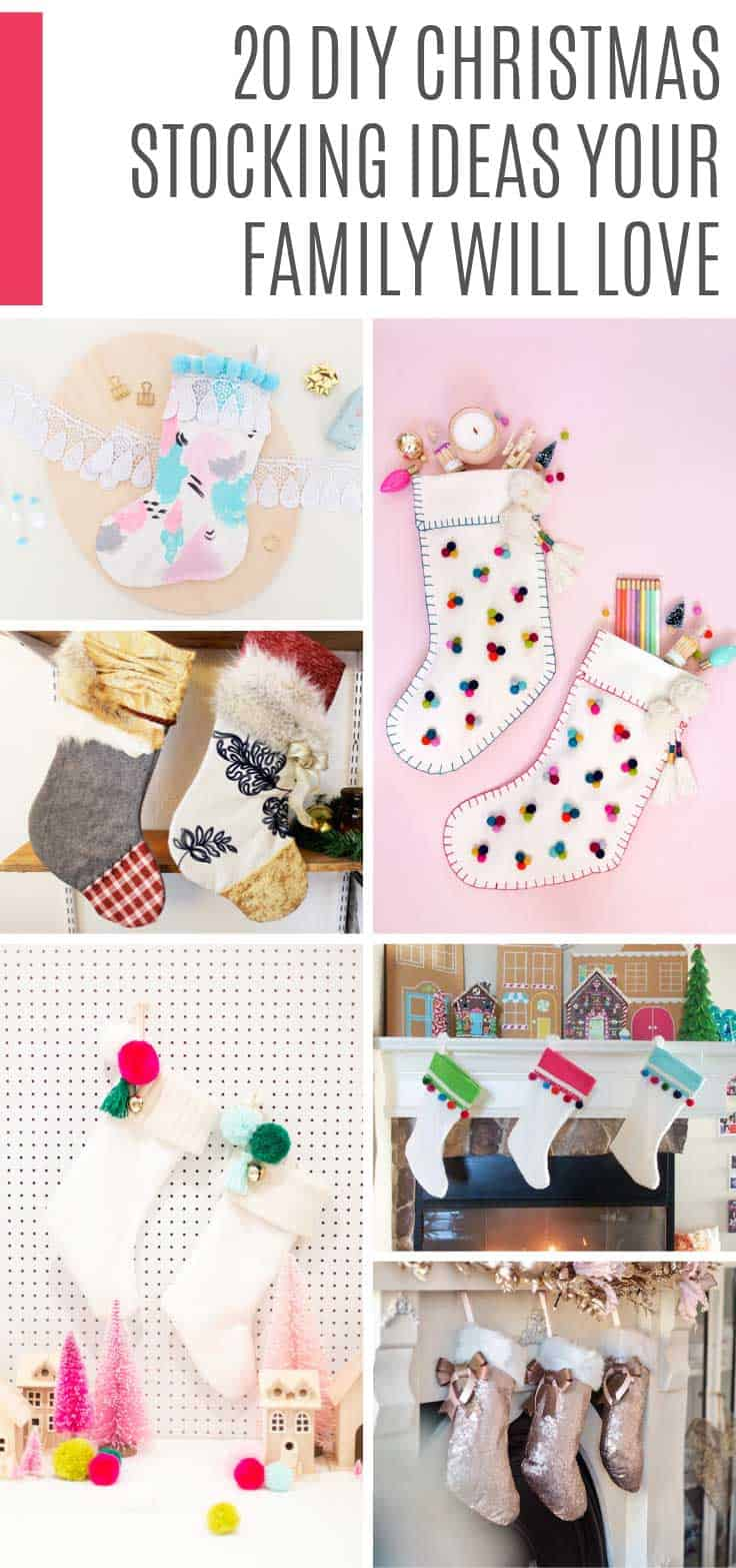 Be inspired by these DIY Christmas stocking ideas - a homemade touch to your Holiday decor! #christmas