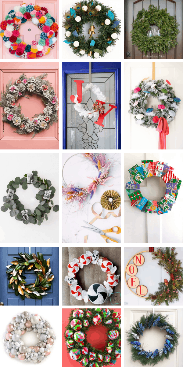 So many beautiful DIY Christmas wreaths you can make this weekend to hang on your front door!