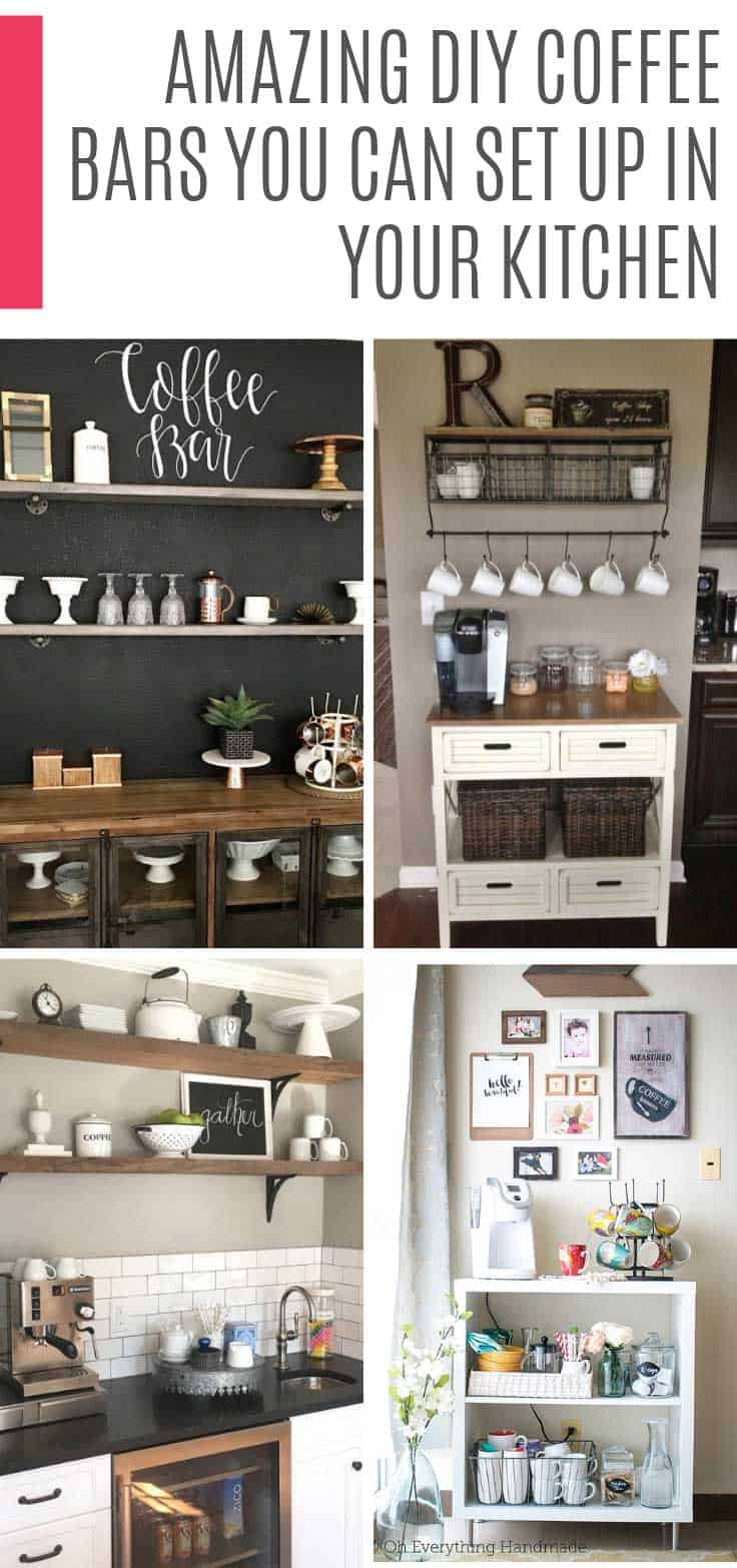 These cozy kitchen bar ideas are just what you need to enjoy your morning cup of joe in your kitchen. You can use your countertop or a trolley in a small space.