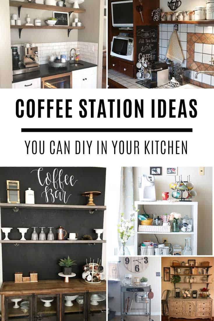 Want to know how to put together a coffee station in your kitchen? So many ideas here from rustic to modern, perfect for countertop bars or trolleys for small spaces