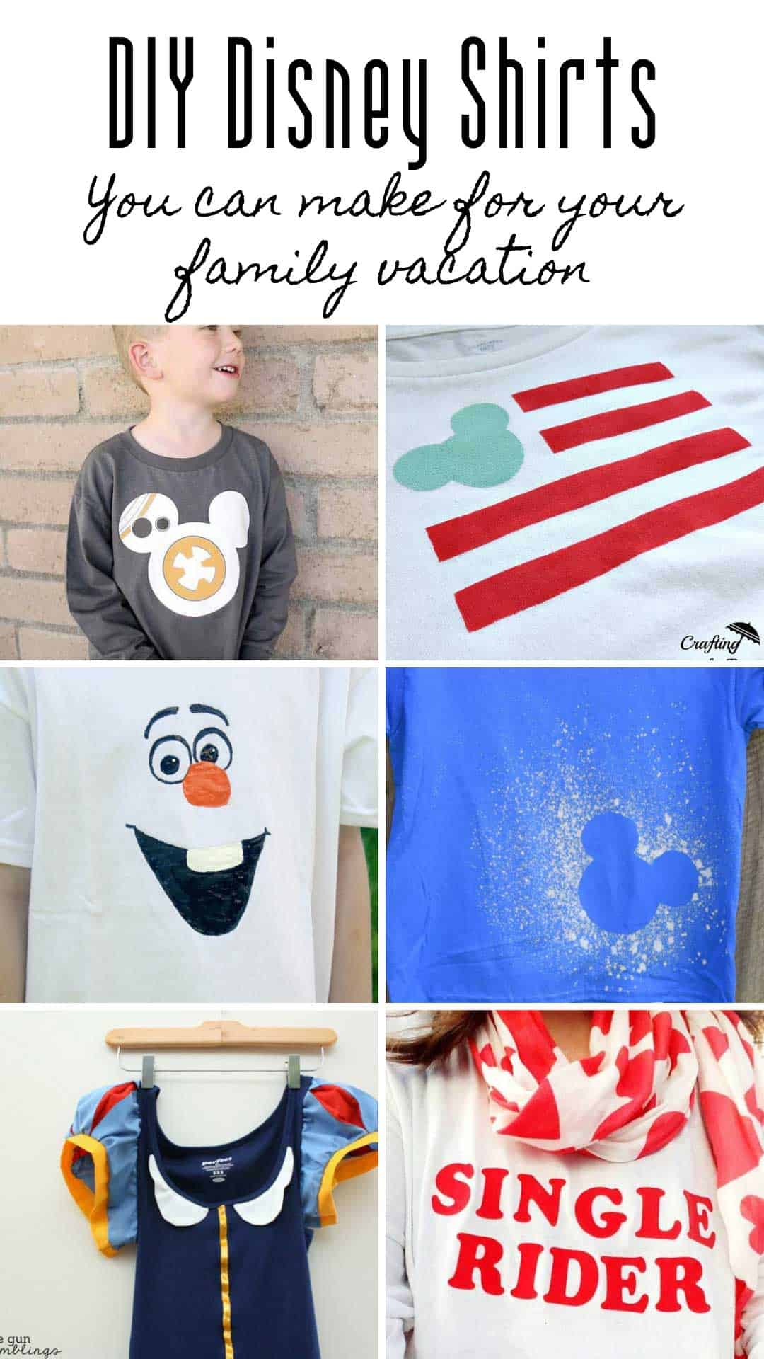 So many cute DIY Disney shirt ideas you can make for your family vacation to Disney World or Disneyland