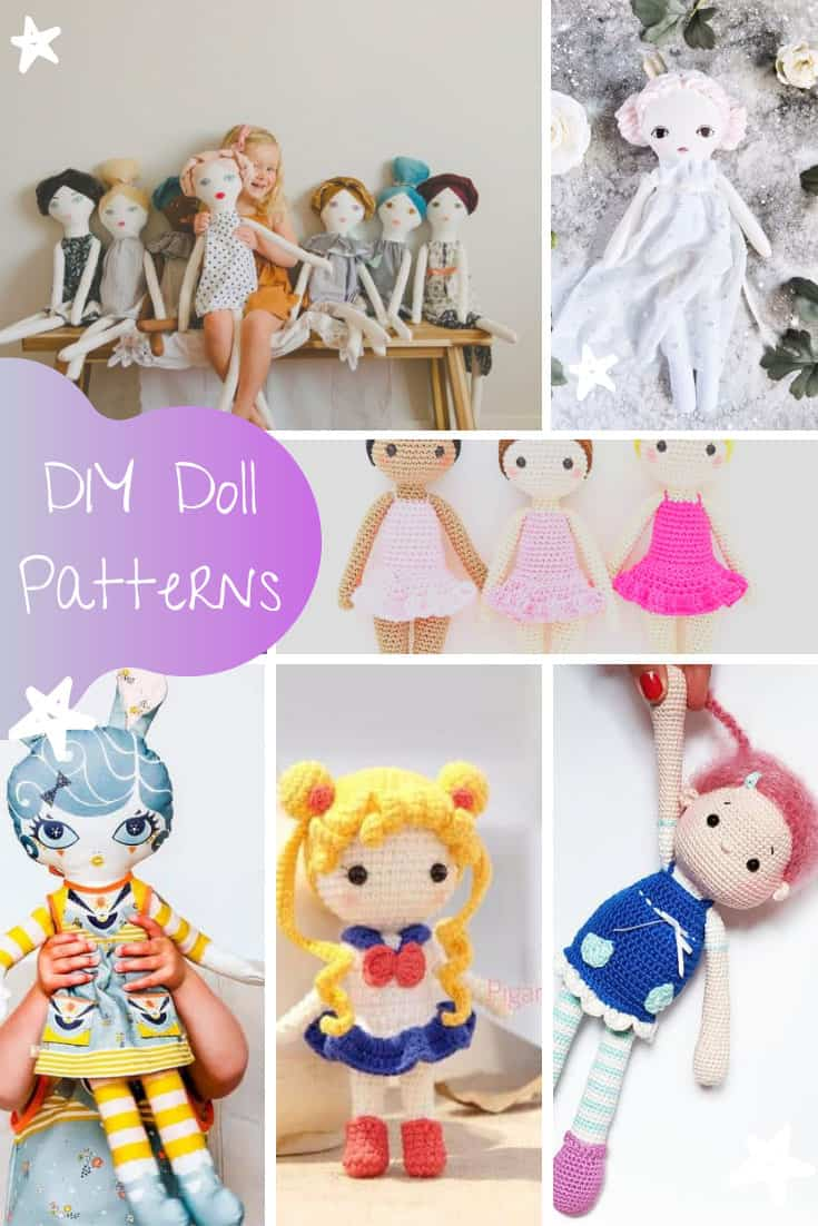 So many adorable DIY doll patterns to choose from here, rag dolls and crochet dolls and felt doll playmates for boys and girls!
