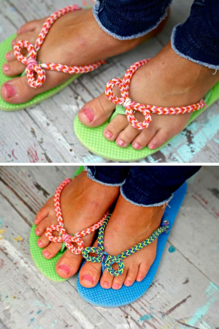 DIY Dollar Store Flip Flops with Rainbow Loom