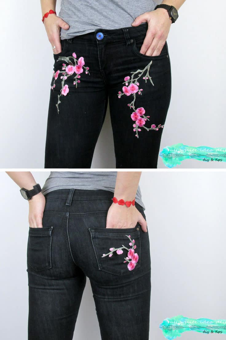 DIY Embroidered Patch Jeans