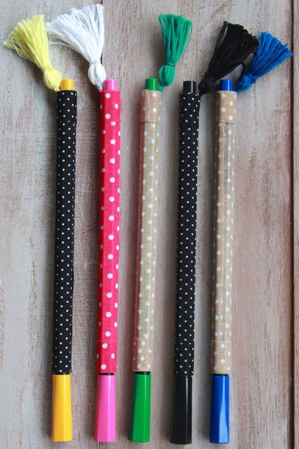 DIY Fabric Wrapped Pens with Tassels