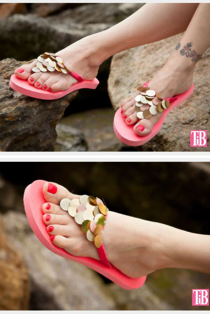DIY Flip Flops with Pailettes