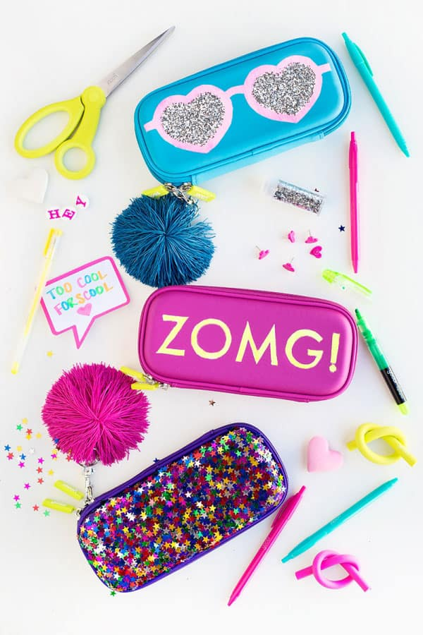 DIY Glittery Graphic Pencil Cases