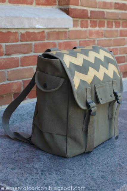 DIY Gold Chevron Army Backpack Makeover