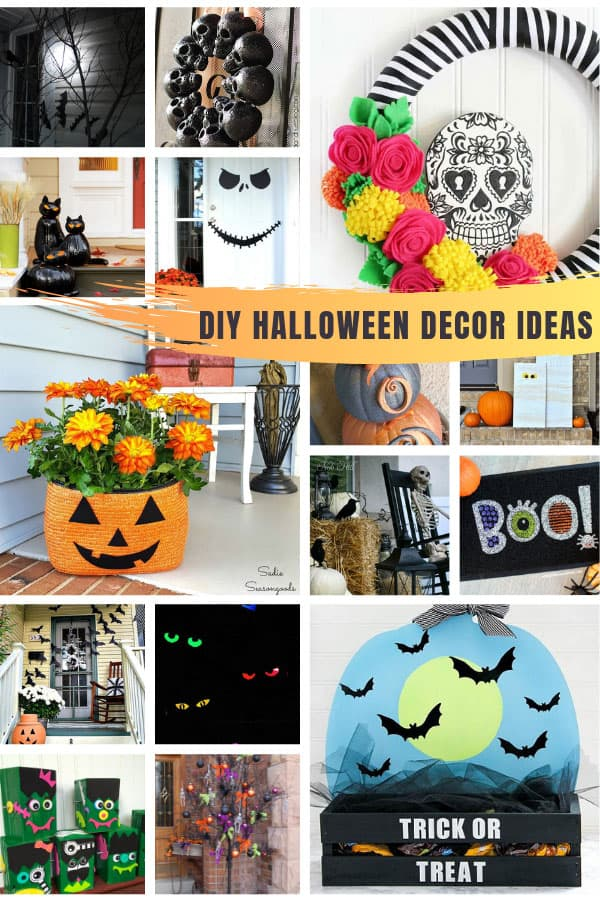 So many fabulous DIY Halloween decor ideas to spook up your front porch for the trick or treaters this year! #halloween