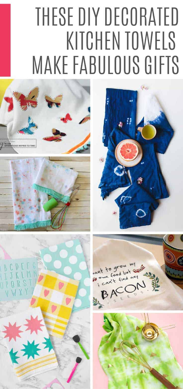 So many fun DIY kitchen towels whether you want modern or farmhouse style, fun or stylish there's a tea towel here for all tastes!