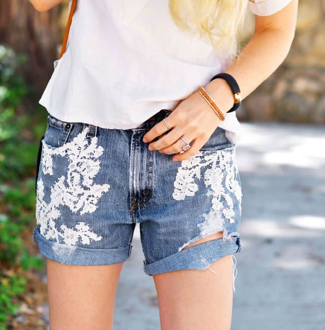DIY Lace Jean Shorts