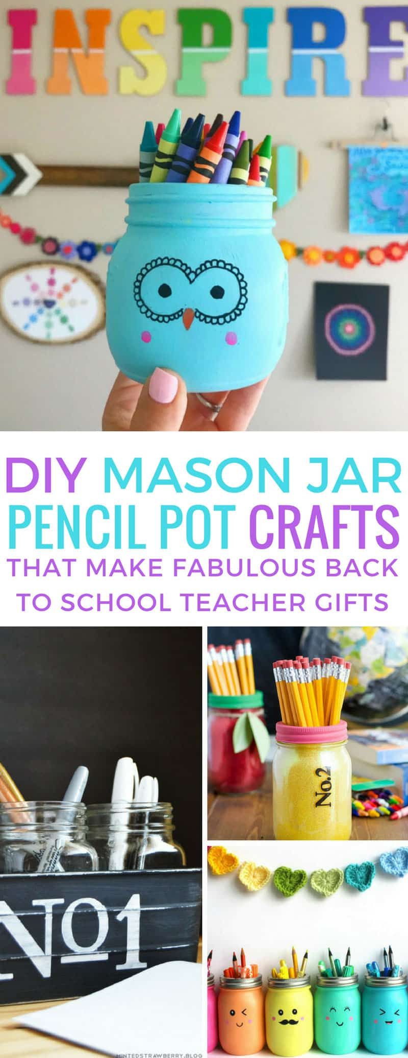 These DIY mason jar painted pencil pots are super cute! Thanks for sharing!