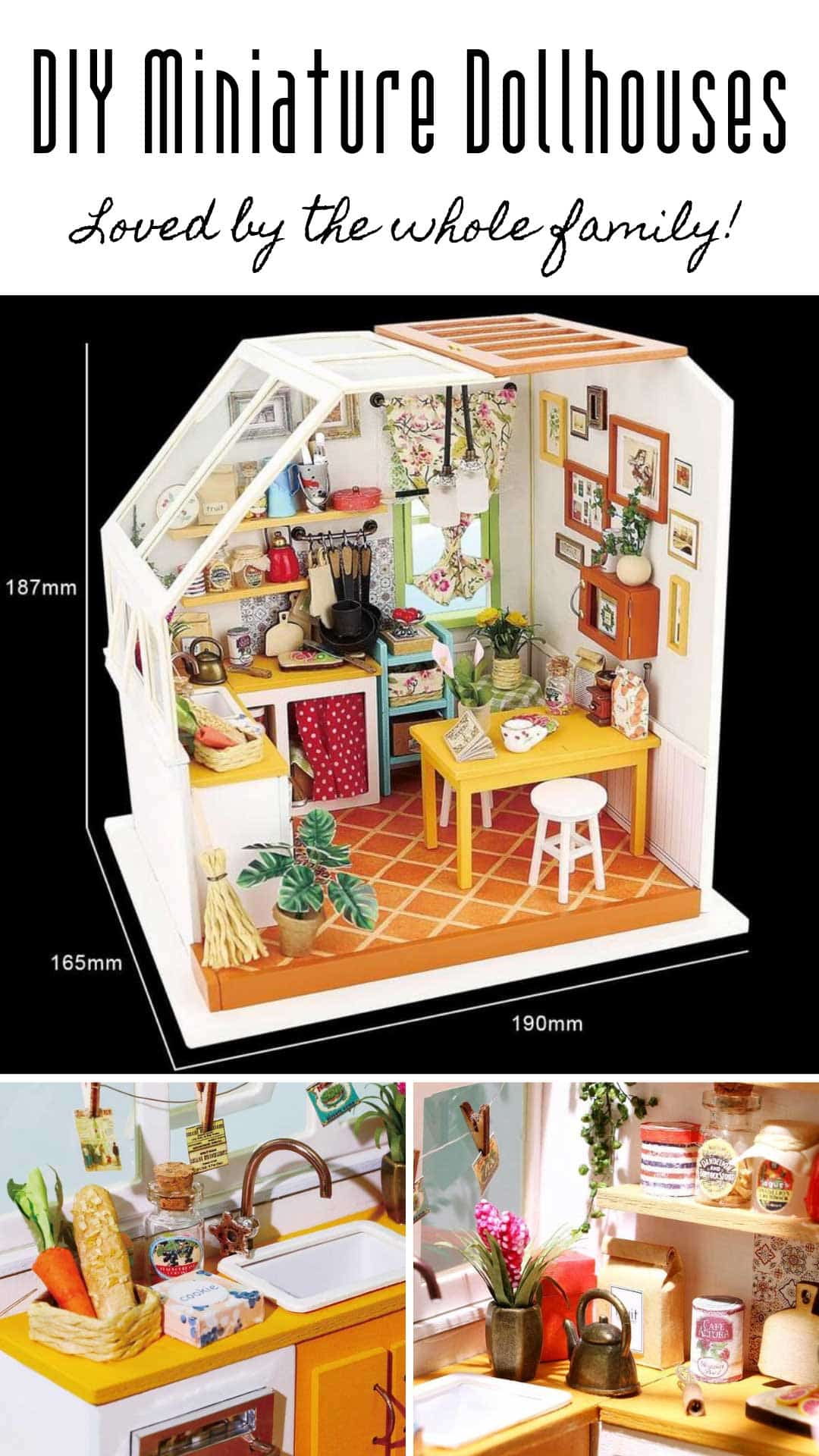 Have you seen these DIY miniature dollhouses? The detail in these kits is AMAZING! They make unique and thoughtful gifts for the crafter in your family!