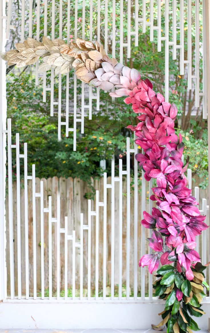DIY Ombre Magnolia Leaf Wedding Backdrop