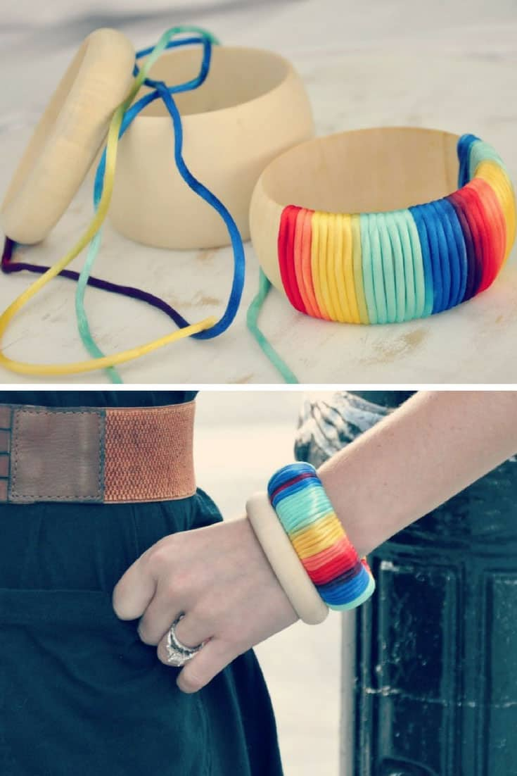 DIY Ombre Rainbow Bangle - No Tools Needed