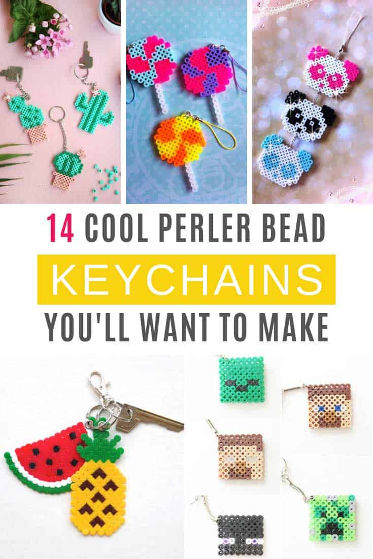These DIY perler bead keychains are easy to make and perfect for developing fine motor skills! Your kids can make them as back to school supplies or teacher gifts!