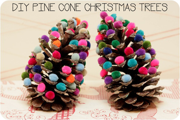 Oh these pine cone Christmas trees will look FABULOUS on the mantlepiece. I might try Elmers instead of the hot glue gun though!