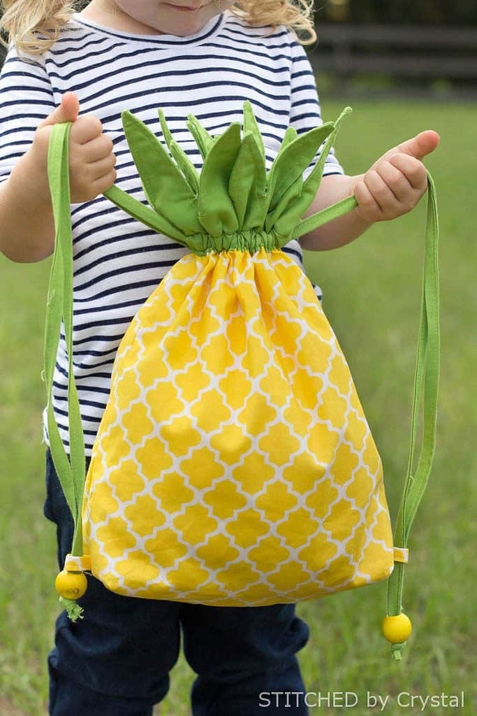 DIY Pineapple Drawstring Backpack