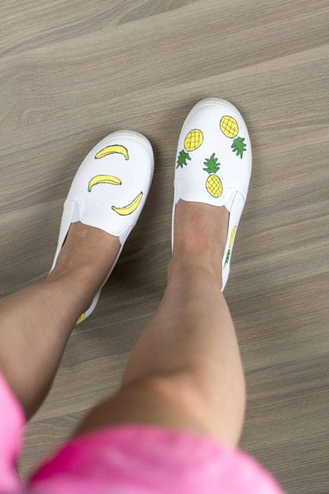 DIY Pineapple and Banana Painted Canvas Shoes