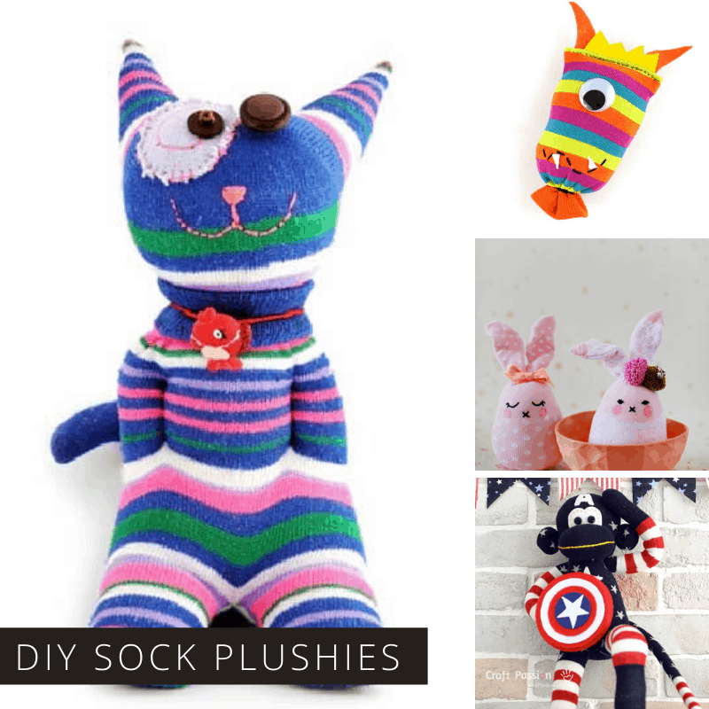 Loving these easy sock animals! Such cute plushies and a great way to use up odd socks!