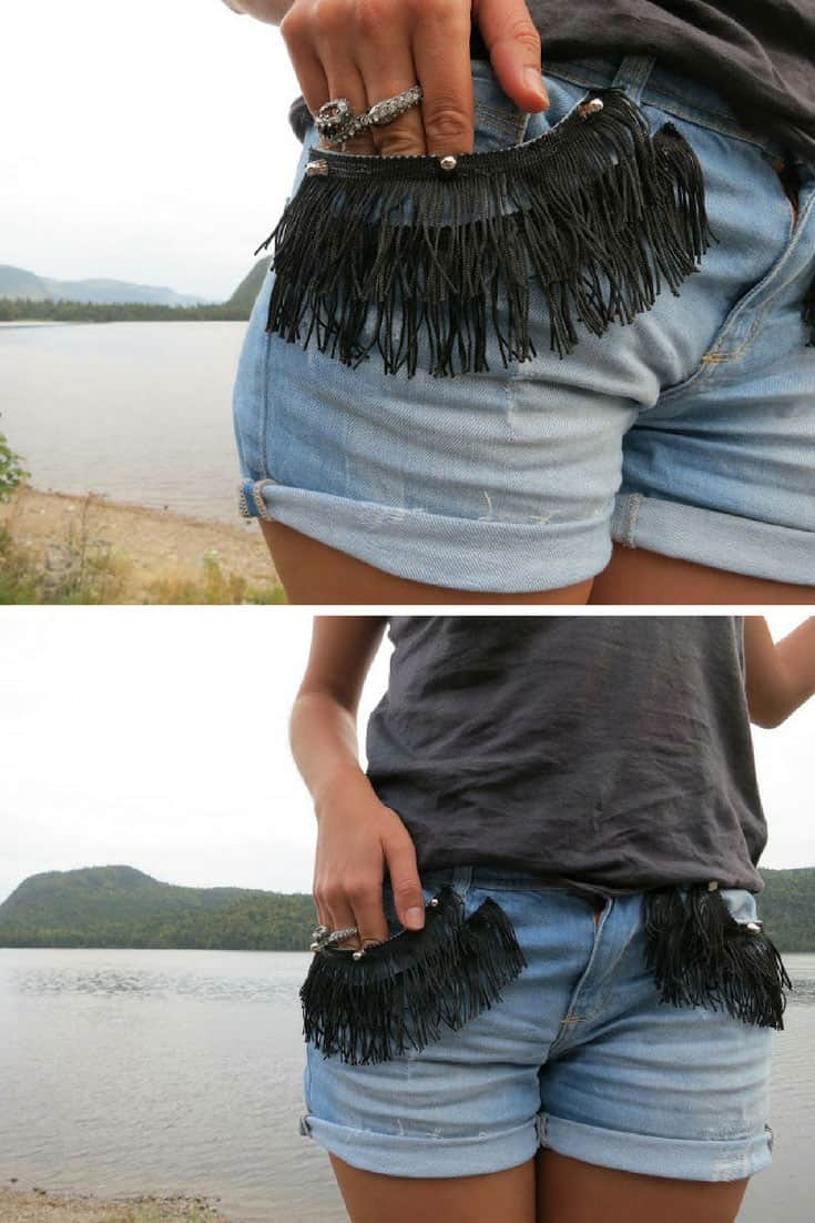 DIY Studded and Fringed Shorts