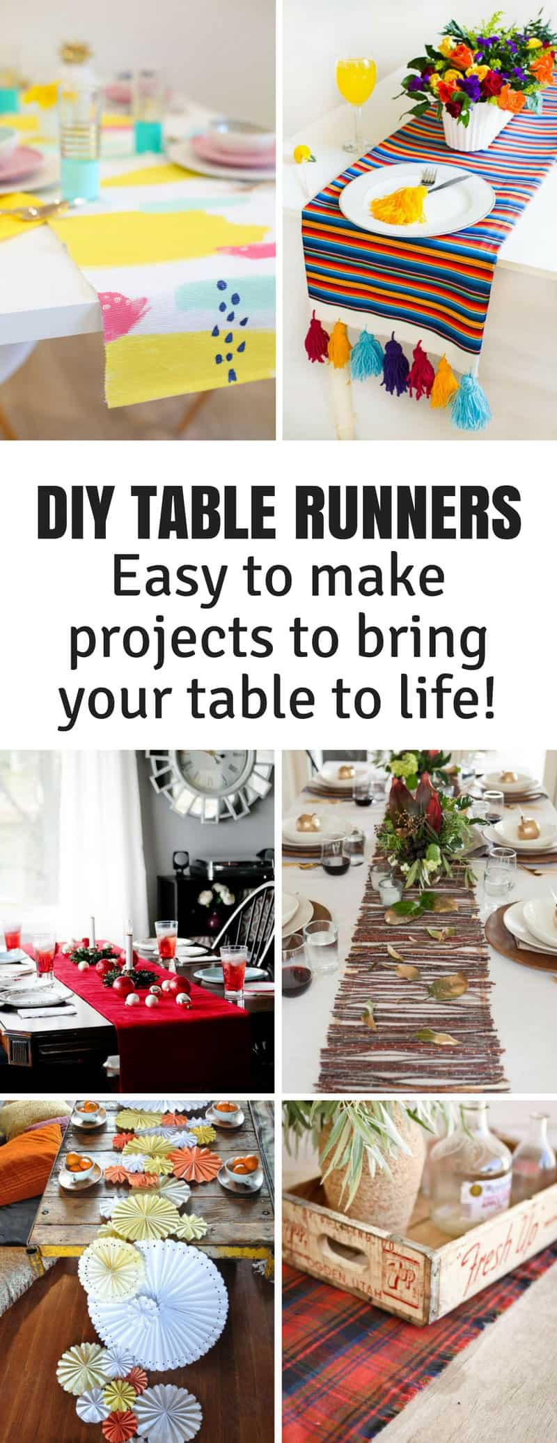 Whether you're planning a Christmas gathering for friends and family, a party for your kids, a meal with friends or a romantic dinner for two you can turn your table into a show stopper with one of these super simple DIY table runners.