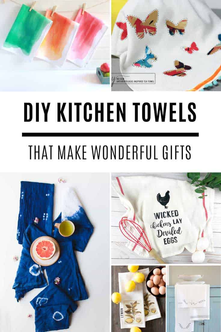 DIY Tea towels you can make this weekend that make great hostess gifts. Tie dye, embroider, crochet or cricut. There's a project for everyone!