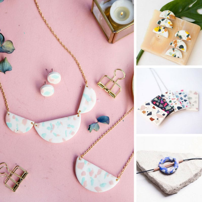 Terrazzo is super hot for 2018 so be on trend with one of these Terrazzo necklaces you can make at home!