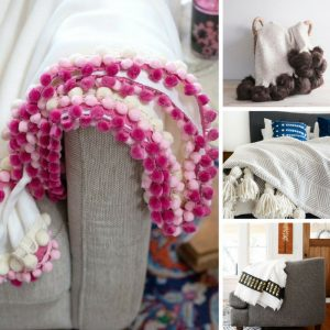 Loving these DIY throws! Especially the pom pom trims! Thanks for sharing!