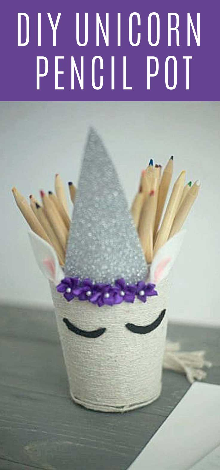 You can make this fabulous DIY unicorn pencil pot using a cheap mesh pencil holder from the Dollar Store!