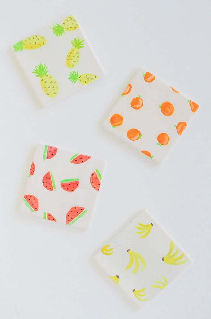 DIY Watercolour Fruit Coasters