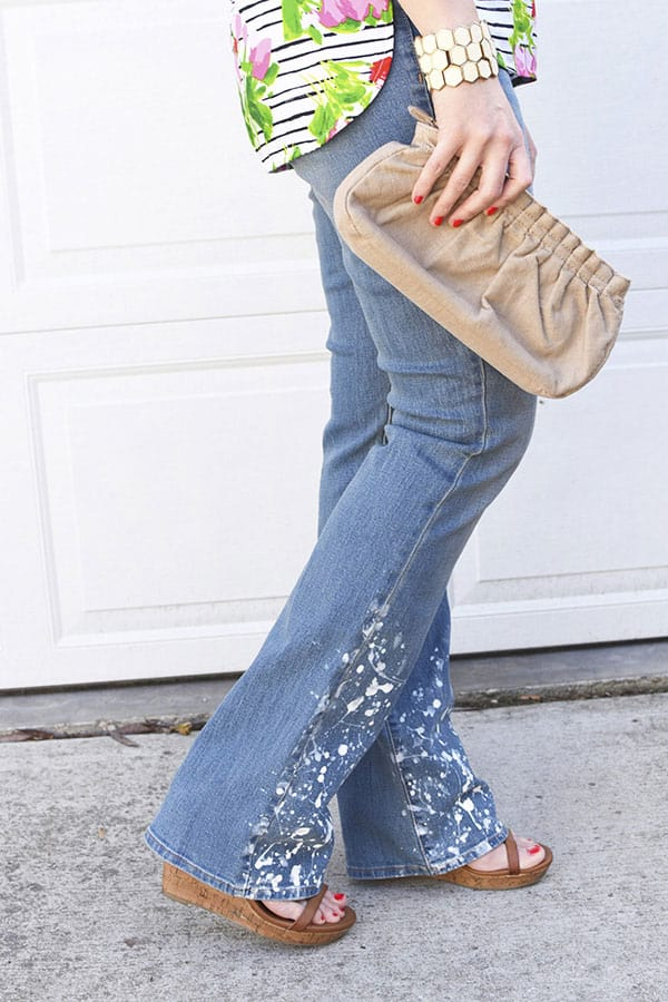 DIY White Paint Splatter Jeans