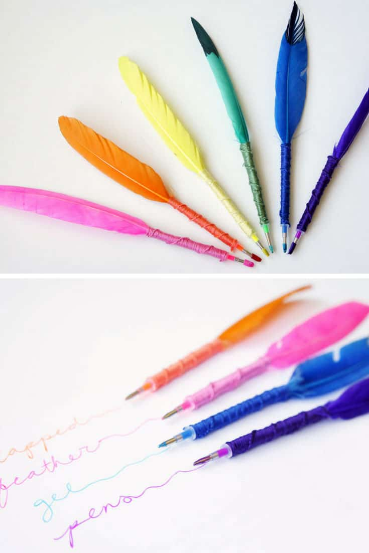 DIY Wrapped Feather Gel Pens
